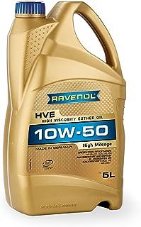 RAVENOL HVE SAE 10W 50 / 10W50 Vollsynthetisches Motoröl für hohe Laufleistung ab 100.000 km (5 Liter)
