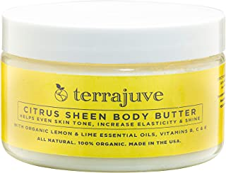 Lemon Body Butter Essential Cream Lotion for Women, Helps Even Skin Tone, Increase Elasticity, and Glow, with Organic Lemo...