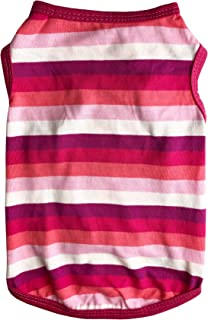Honeycutey Pet Dog T Shirt Cloth Cute Apparel Puppy Soft Cotton Vest Beach Wear Rainbow Star Stripe Diagonals Stretch Singlet