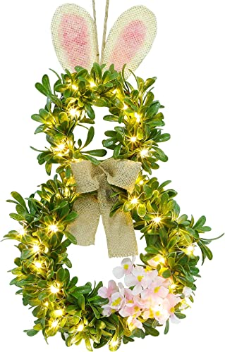 lowest Twinkle Star 19 Inch Pre-lit Easter Bunny lowest Wreath, Lighted Boxwood Wreath Spring Front Door Wreath Greenery Garland with 40 LED sale Warm White Copper Light & Timer, for Home Wall Hanging Spring Decor online
