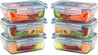 Glass Lunch Containers with Lids (Snap Locking) - Airtight & Leak Proof - BPA Free - Oven, Dishwasher, Microwave, Freezer Safe - Odor and Stain Resistant (6PK)