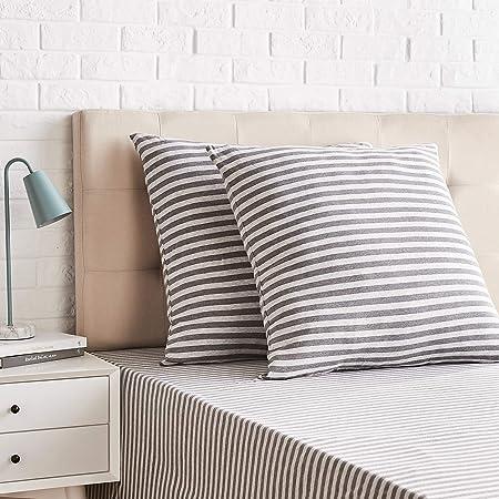 Amazon Basics-Jersey Pillowcases, Pack of 2, Stripes-65 x 65 cm, Light Grey