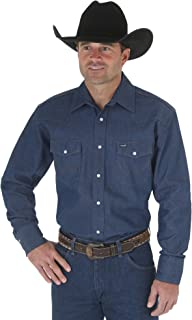 Men's Cowboy Cut Western Two Pocket Long Sleeve Snap Work Shirt-Firm Finish