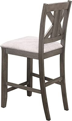Coaster Home Furnishings Athens Upholstered Seat (Set of 2) Counter Height Stool, Light tan and barn Grey