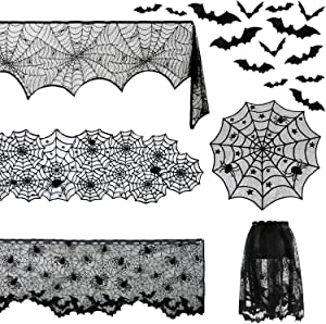 STEFORD 5 Pack Halloween Decorations Set-Spiderweb Lace Rectangular Table Cover and Round Tablecloth Fireplace Scarf Cover Cobweb Lampshade with 120PCS 3D Bats for Halloween Decoration Supplies