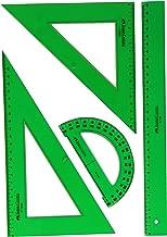 Faber Castell 65021 - Pack escolar con escuadra, cartabón, regla y semicírculo, color verde