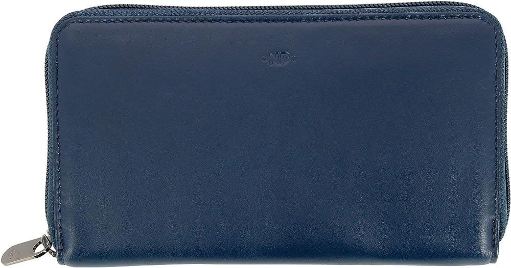 Nuvola pelle, portafoglio, porta carte di credito da donna grande, in vera pelle, multi tasche blu 8031847166552