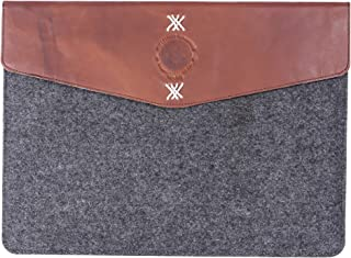 The Leather Warehouse 13-13.3 inch Leather Laptop Sleeve | case with Back Zipper Pocket Compatible with MacBook Air | pro 13 inch for Men & Women Body in Felt Handmade - Grey and Brown