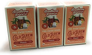 Southern Breeze Pre-Sweetened Peach Cold Brew Pack of 3 Box, 20 Single Serving Tea Bags Zero Calorie