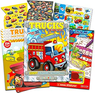 Cars and Trucks Coloring Book Set -- Bundle with 3 Books with Over 500 Pages and Over 300 Stickers (Cars, Fire Trucks, Construction, Trains and More)