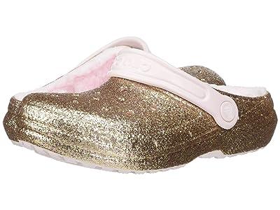 Crocs Kids Classic Glitter Lined Clog (Toddler/Little Kid) (Gold/Barely Pink) Girl