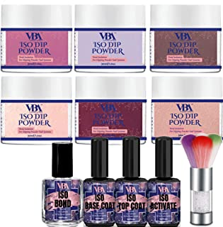 Nail Dip Powder Kit Color Set VBA 6 Professional Pigmented Dipping Polish Starter Collection for Dipped Manicure Powdered System (Essential Dip Kit)