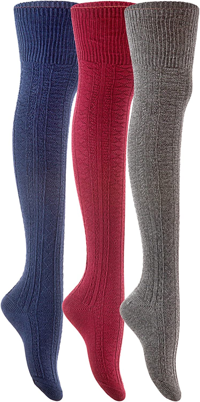 Lian LifeStyle Women's 3 Pairs Fashion Thigh High Cotton Socks JMYP10252 Size 69(US)