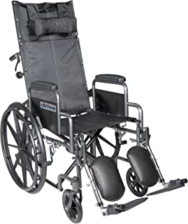 Drive Medical Silver Sport Reclining Wheelchair with Detachable Desk Length Arms and Elevating Legrest, Silver Vein, 18