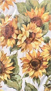 Creative Converting Sunflowers 2-ply Guest Towels Buffet Hostess Paper Napkins, Yellow, 16 ct