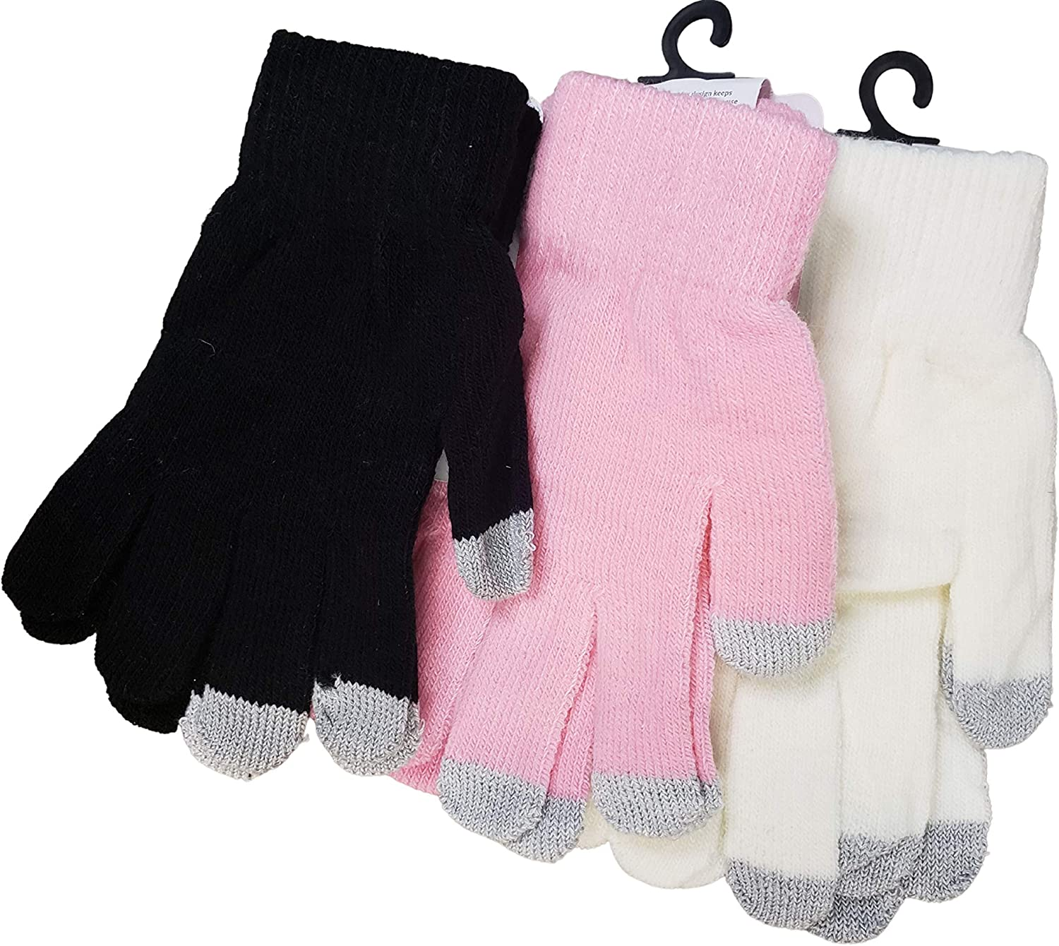 Touchscreen Winter Gloves for Cellphone Electronics-Soft and Stretchy-Set of 3: black, pink, white