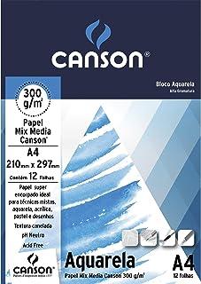 Bloco Aquarela A4 300g/m², Canson, 12 Folhas