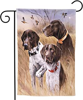 Granbey German Shorthaired Pointer Garden Flag Autumn Duck Hunting Print Yard Flag Vertical Readable Double Sided Small Ho...