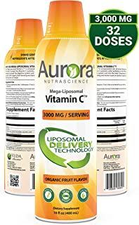 Aurora Nutrascience Mega-Liposomal Vitamin C 3000 mg per Serving 16 oz Liquid - High Absorption, Fat Soluble VIT C, Antiox...