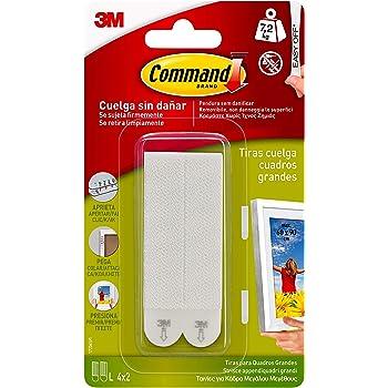 Command 17206 Pack de 8 tiras para cuadros grandes color blanco, Set de 8 Piezas
