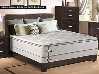 Mattress Comfort 10 Medium Plush Innerspring Pillowtop Mattress and 5-inch Metal Box Spring/