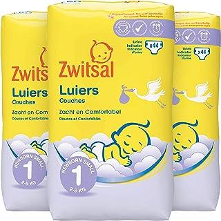 Zwitsal Luiers maat 1 (2-5 kg), langdurig droog met urine indicator, 132 luiers - Voordeelverpakking