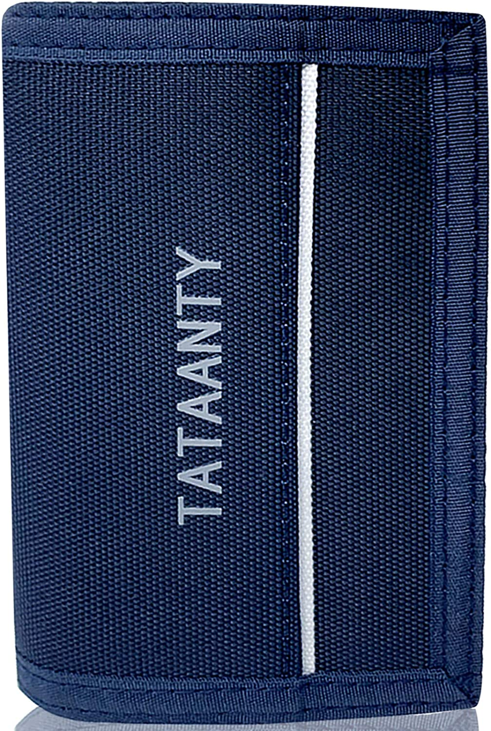 Men's Wallet,Kids Wallets for Teens Boys with Velcro - Keychain Trifold Canvas Wallet with Coin Zipper Pocket (Navy Blue)