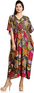 Women Kaftan Dress Floral Indian Boho Maxi Gown One Size Plus Caftan Dress Gray