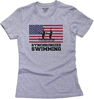 Hollywood Thread USA Olympic - Synchronized Swimming - Flag - Silhouette Women's Cotton T-Shirt