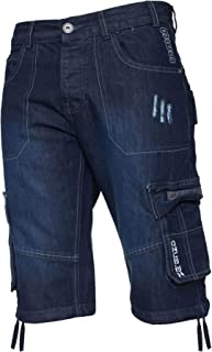 Enzo Mens Combat Shorts Cargo Pockets Casual Knee Length Jeans Denim Pants