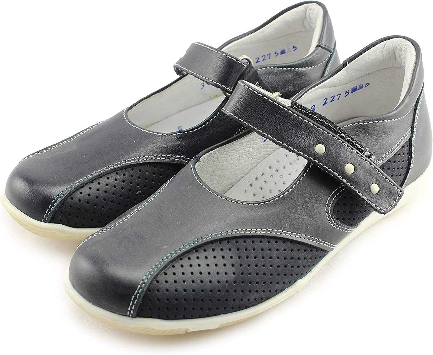 Venettini Girls Mary Jane Leather Shoes with Arch, Ankle, and Orthopedic Support (3808 Navy Leather)