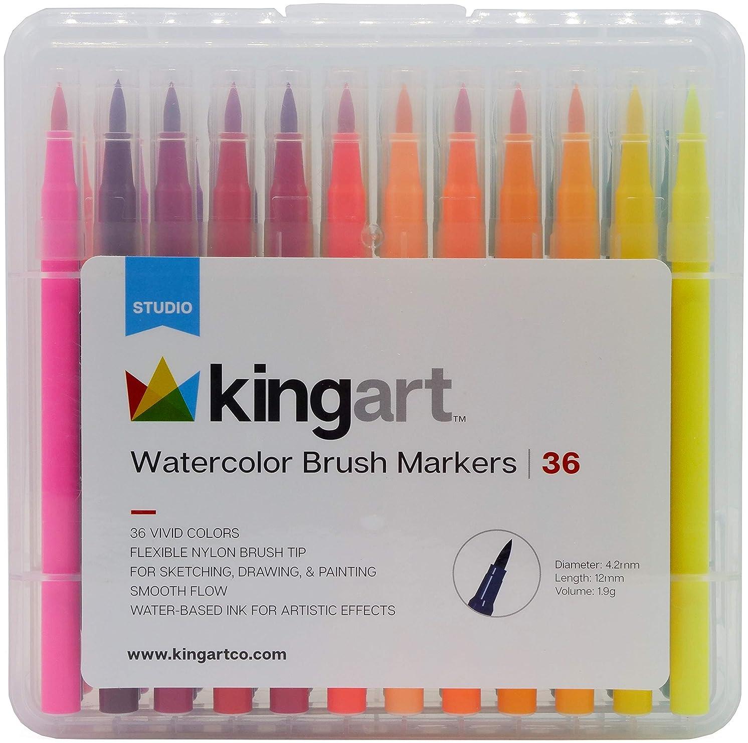 KINGART 410-36 Watercolor Brush Markers, Set Of 36, Vibrant Colors,  Reusable Storage Case