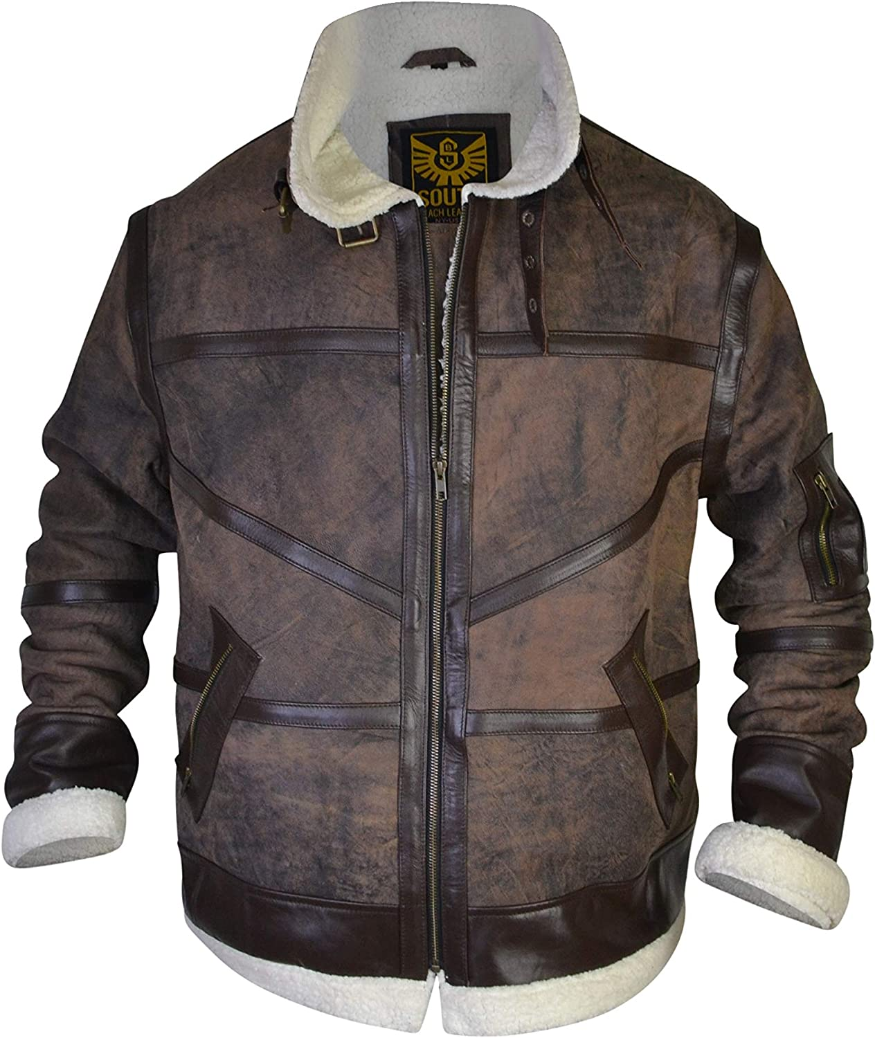 Motorcycle Bomber Fur Antique Brown Leather Jacket SouthBeachLeather
