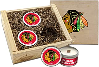 Worthy Promo NHL Scented Candles Gift Set in Wood Box (Chicago Blackhawks)