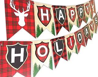 Woodland Reindeer Happy Holidays Banner Pennant HH