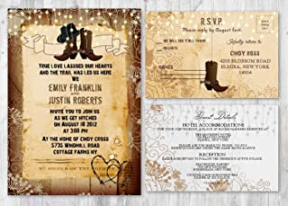 Western Rustic Wedding Invitations With Matching Card Set of 30