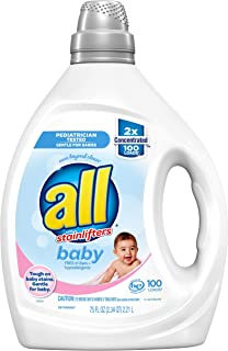 all Liquid Laundry Detergent, Gentle for Baby, 2X Concentrated, 100 Loads