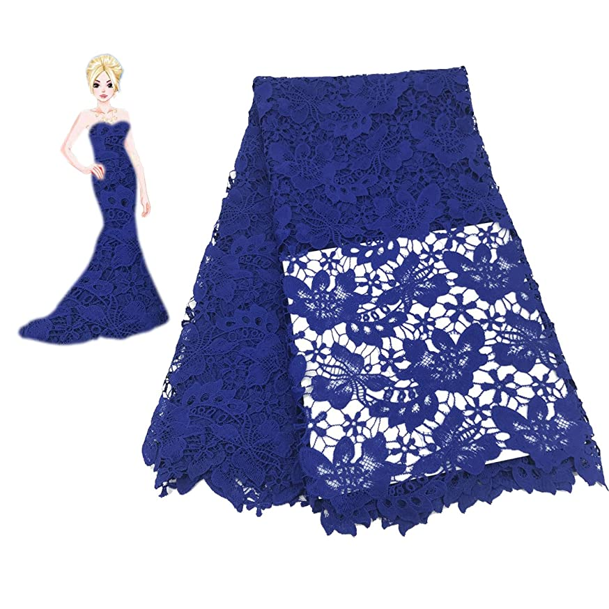 KENLACE 5Yards African Guipure Lace Fabric for Sewing Best Selling African Cord Lace Fabric to Make Dresses Skirts for Wedding Party (Blue)