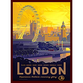 A SLICE IN TIME London England Great Britain's Crowning Glory Vintage Travel Wall Decor Home Collectible Advertisement Art Poster Print. 10 x 13.5 inches