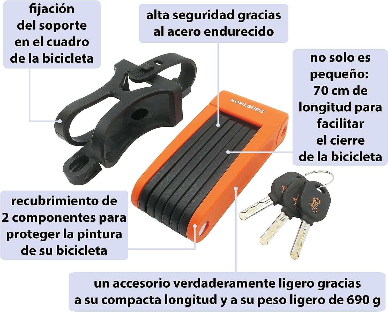 flexible y seguro de 70/cm Candado plegable para bicicleta y E-Bike extra ligero y peque/ño de Kohlburg con soporte