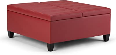 Simpli Home Ellis 36 inch Wide Square Coffee Table Lift Top Storage Ottoman, Cocktail Foorest Stool in Upholstered Crimson Red Faux Leather for the Living Room, Contemporary