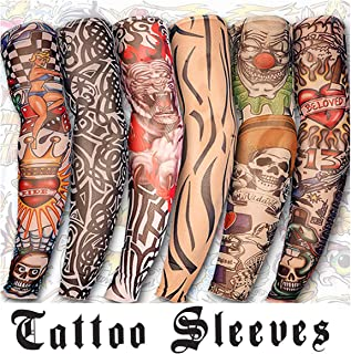 6 Pcs Set Arts FakeTemporary Tattoo Sleeves Arm Sleeves Arts Fake Slip Sports Arm Sleeves Stockings Slip Accessories Halloween Tattoo Soft for Men Women Stretchable Cosplay Accessories
