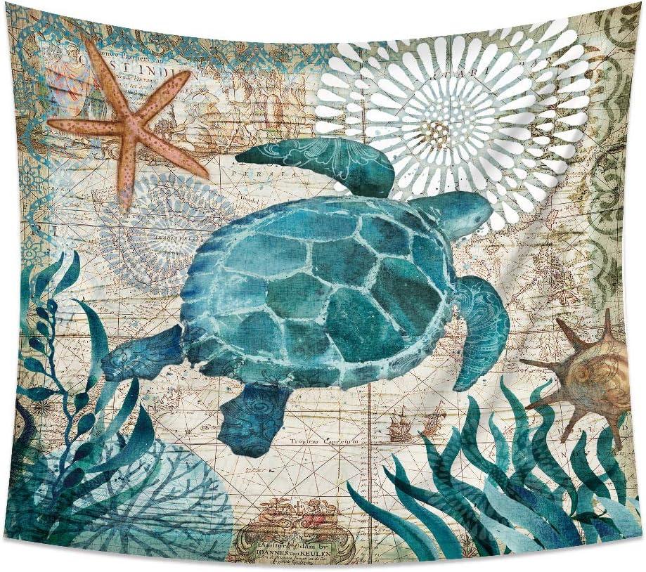 Arazzo da Parete Indiano Tartaruga Delfino Blu Tappeto Muro 3D Adesivo 100x75CM Arazzo Poliestere Daesar Arazzo da Appendere