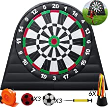 Popsport 10X10ft Inflatable Soccer Darts Board Inflatable Football Darts with 6pcs Inflatable Ball Dart Football Inflatable for Outdoor Sports Game