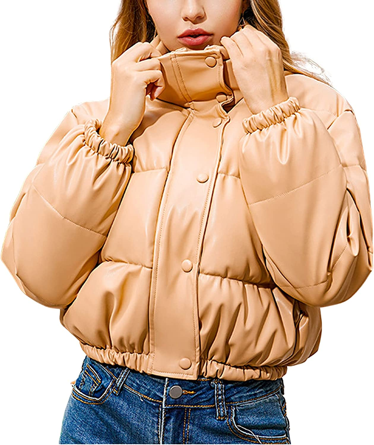 Hooever Women's Winter Cropped Puff Coat Casual Faux Leather Warm Shot Jacket
