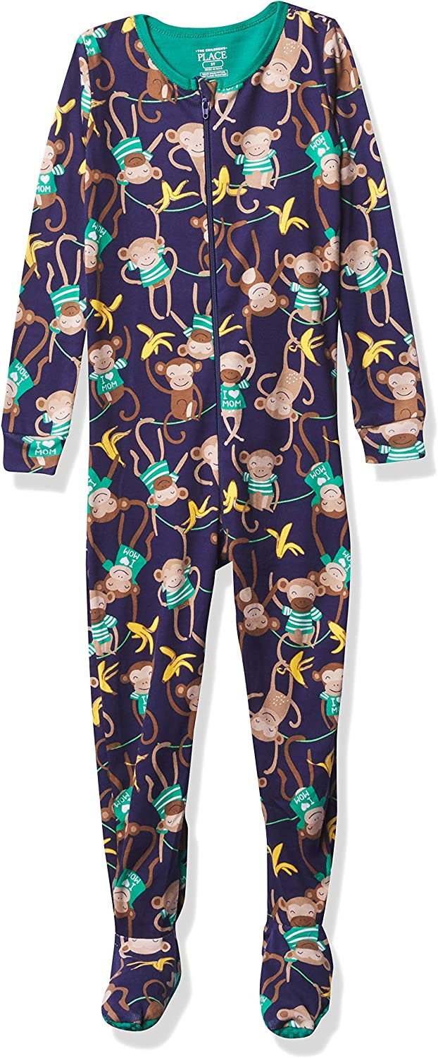 The Children's Place Boys' Baby and Toddler Monkey Snug Fit Cotton One Piece Pajamas