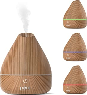 Pure Enrichment PureSpa Natural Essential Oil Diffuser (Natural) – 200ml Water Tank Lasts Up to 10 Hours with Soft Color-C...