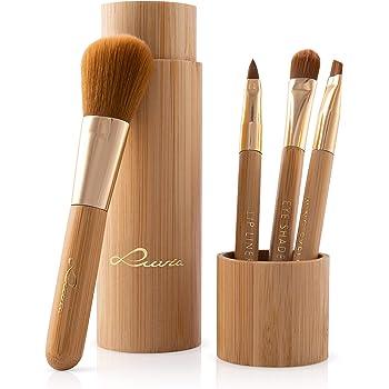 Cosmetics Juego de pinceles de maquillaje de tubo de bambú con estuche 4 pinceles de maquillaje de bambú real que incluyen almacenamiento y forzado de cepillos,vegano y libre de pruebas con animales: