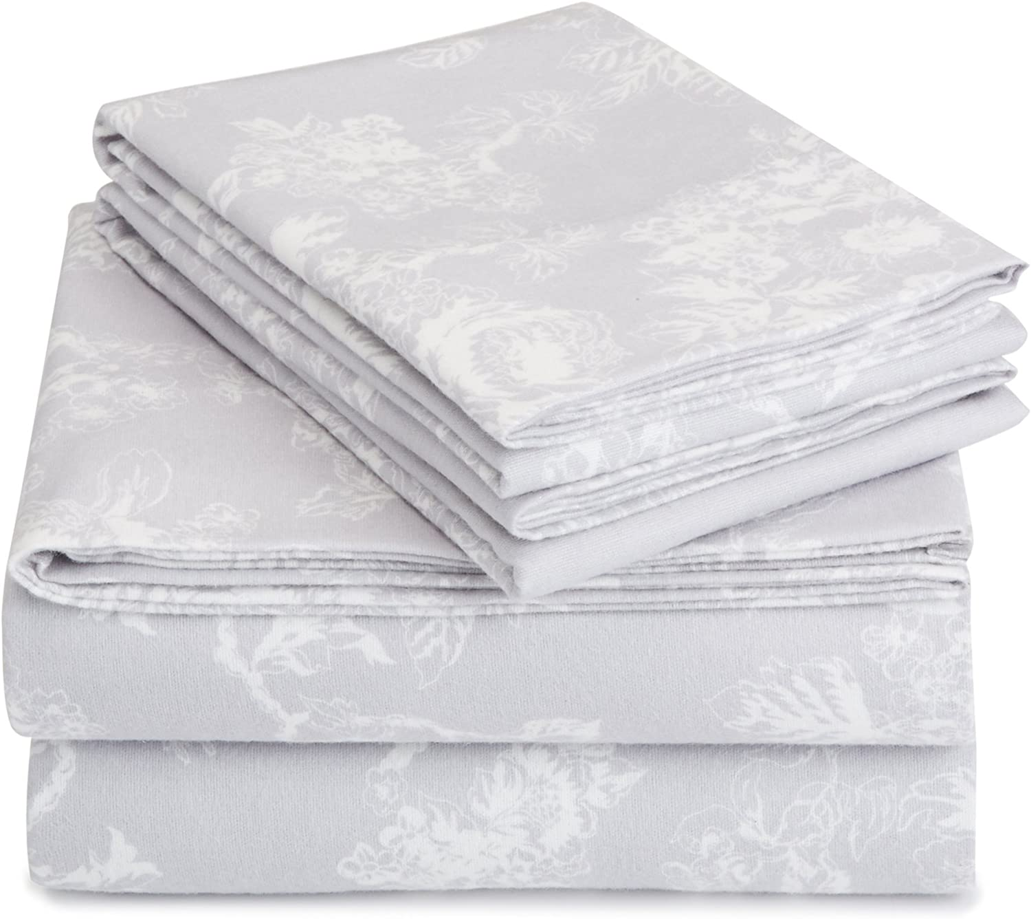 Pinzon 170 Gram Flannel Sheet Set – Cal King, Floral Grey