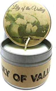 Mels Candles & More Lily of The Valley - 4oz All Natural Soy Candle Tin Approximate Burn Time 36 Hours